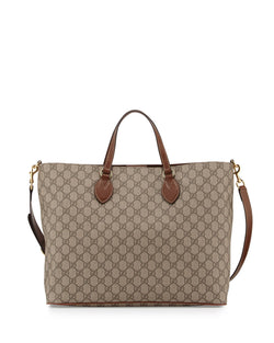 Gucci GG Supreme Top-Handle Tote Bag, Tan