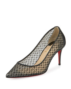 Christian Louboutin Saramor Fishnet 70mm Red Sole Pump, Black