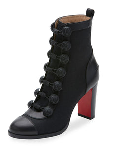 Christian Louboutin Who Dances Button 85mm Red Sole Bootie, Black