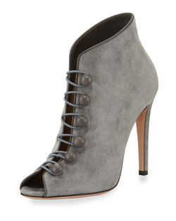 Gianvito Rossi Imperia Suede Open-Toe 105mm Bootie, Gray