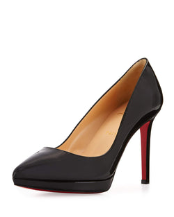 Christian Louboutin Pigalle Plato Patent Red Sole Pump, Black