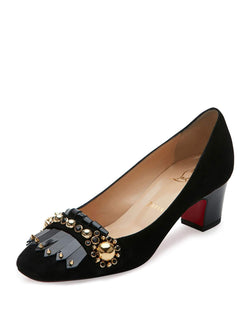 Christian Louboutin Oaxacana Kiltie Red Sole Pump, Black