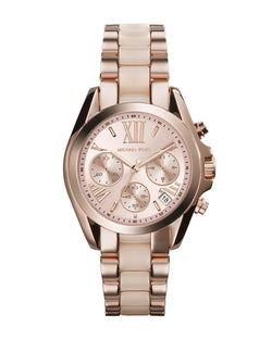 Michael Kors Mini Rose Golden/Blush Stainless Steel Bradshaw Chronograph Watch