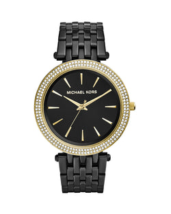 Michael Kors Black Stainless Steel Golden Darci Watch