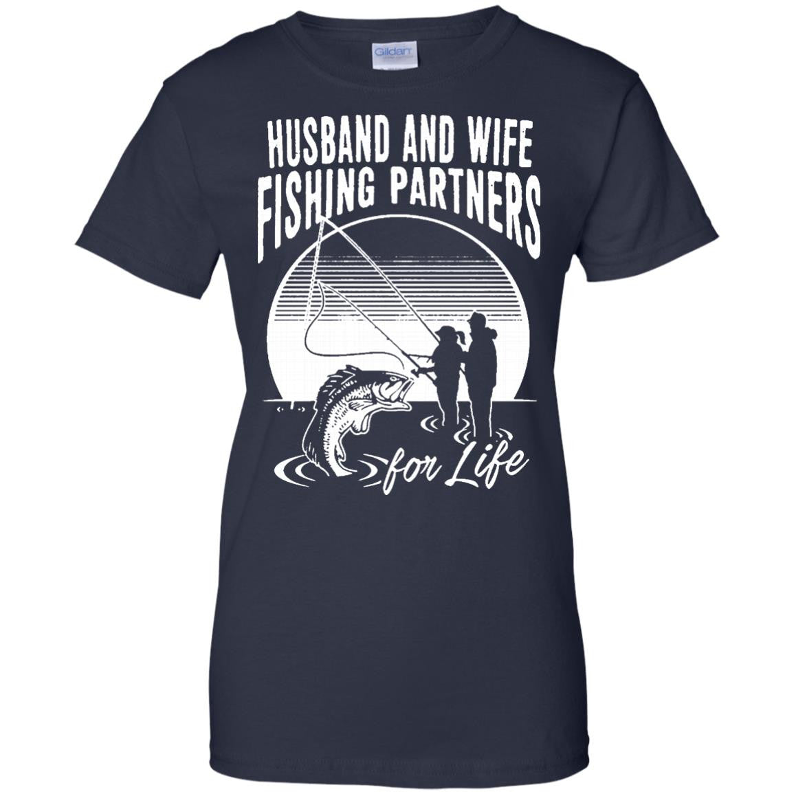 Family t shirts husband and wife fishing partners for life Fishing t shirts