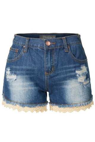 Distressed Jean shorts with crochet detail - blue- denim