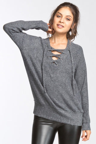 lace up sweater - grey - charcoal