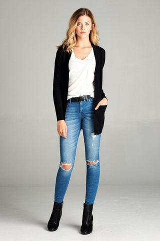Cardigan with pockets - black