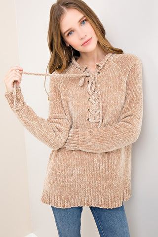 Self tie sweater top - taupe brown