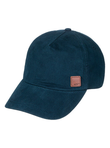 Baseball cap with leather patch - navy