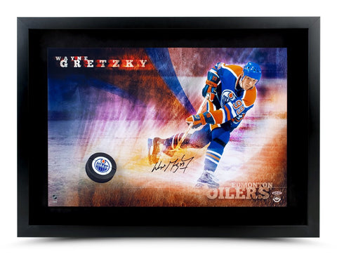 WAYNE GRETZKY AUTOGRAPHED EDMONTON OILERS SLAPSHOT BREAKING THROUGH - FRAMED