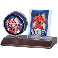ULTRA PRO DARK WOOD PUCK AND CARD HOLDER