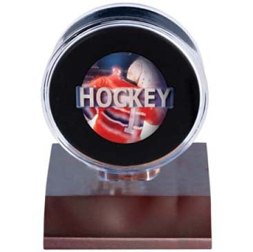 Ultra Pro Dark Wood Base Puck Display