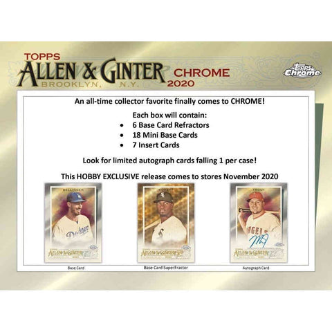 2020 Topps Allen and Ginter Chrome Baseball Hobby Box