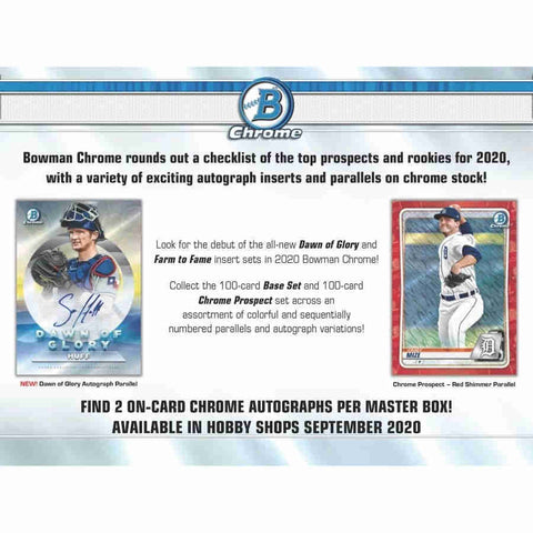 2020 Bowman Chrome Baseball HTA Choice - 12 Box Case