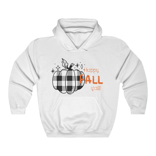 Buffalo Check Happy Fall Y'all Unisex Heavy Blend™ Hooded Sweatshirt