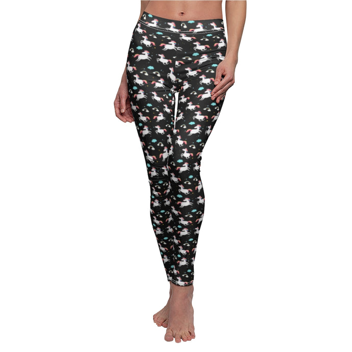 Unicorn Print - Black Background - Women's Casual Leggings