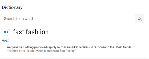Google's definition of fast fashion