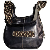 Black & white modern wayuu leather bag