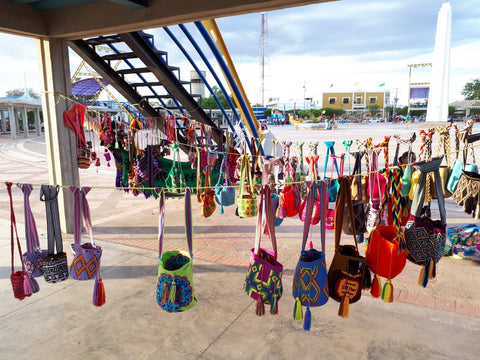 Wayuu Mohcila bags in an artisan market in Uribia's town square