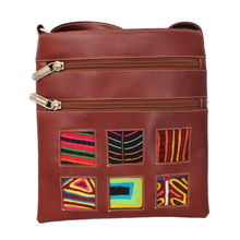 Deep brown leather small bag with mola design