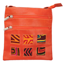 Orange leather small bag with mola design