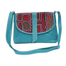 Blue, medium-sized leather crossbody bag with mola design