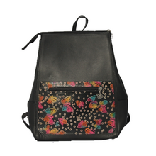 Black leather backpack with hand stamped and hand painted butterfly design
