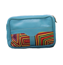Light blue leather fanny pack with mola design