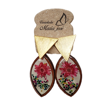 Dried Flowers Handmade Earrings- Brass Coated