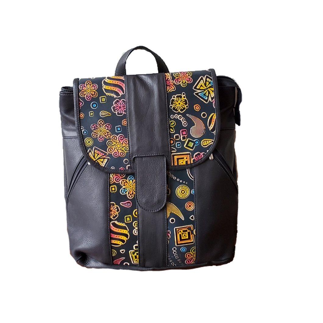 Large Boho, Leather Handpainted Backpack