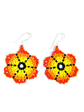 "Black, yellow, orange, and red ""Flowers"" beaded, sterling silver embera handmade earring"