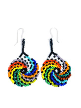 "Colorful ""Spiral"" beaded, sterling silver embera handmade earring"