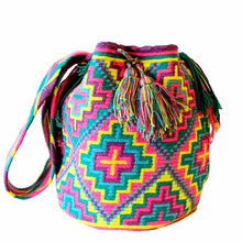 "Large pink, purple, blue, and yellow ""Colorful Crosses"" handmade Wayuu Mochila bag from Colombia"