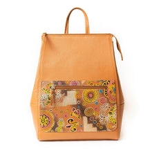 Beige leather backpack with hand stamped and hand painted butterfly & flower design