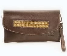 Leather Clutch with Sugar Cane Straws decoration  (Adjustable Strap)