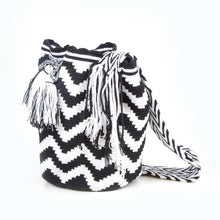 Large black and white straps, handmade Wayuu Mochila bag from Colombia