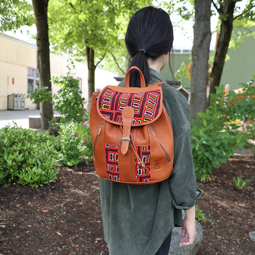 Suede Leather Backpack- Mola Decoration
