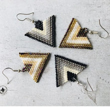 Gold and silver triangle, beaded, sterling silver embera handmade earrings