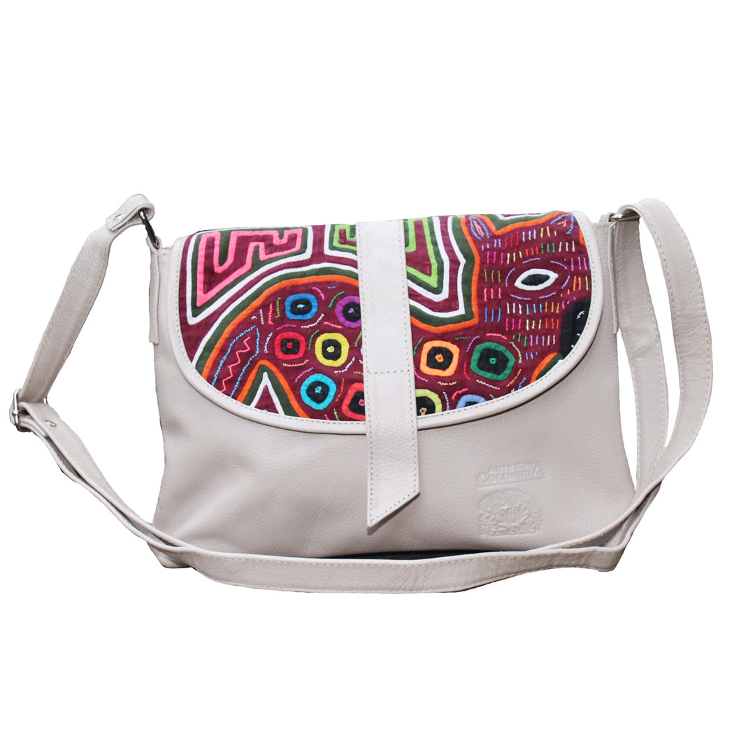White, medium-sized leather crossbody bag with mola design