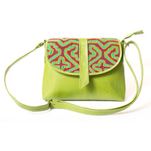 Green, medium-sized leather crossbody bag with mola design