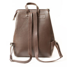 The backside of the dark brown leather backpack
