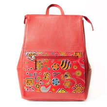 Red leather backpack with hand stamped and hand painted design