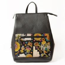 Leather Backpack with a Painted Flowers Design