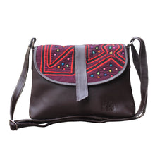 Dark brown, medium-sized leather crossbody bag with mola design