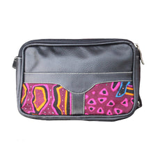 Black leather fanny pack with mola design
