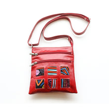 Red leather small bag with mola design with strap on