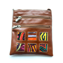 Brown leather small bag with mola design