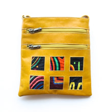 Yellow leather small bag with mola design