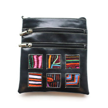 Black leather small bag with mola design